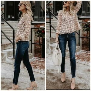 New star hollow out blouse long sleeve see through